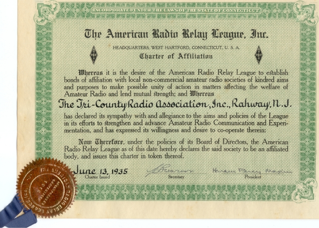 The TCRA ARRL Charter of Affiliation, June 13th, 1935